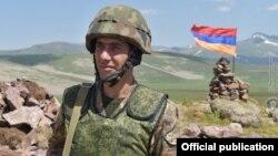 Amenia - An Armenian soldier at a border post in Gegharkunik province, July 5, 2021.