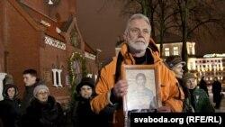 Валер Сядоў на акцыі салідарнасьці 19 студзеня ля Чырвонага касьцёлу.