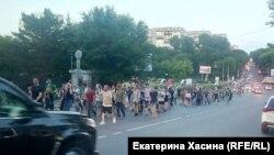 Протест против задержания губернатора, Хабаровск, 14 июля