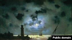 """""""Deñiz yalısı gece. Mayak yanında"""", 1837, İvan Ayvazovskiyniñ resmi"""