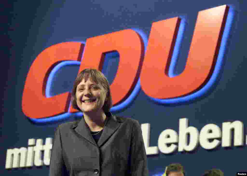 Angela Merkel, newly elected Christian Democratic Union (CDU) party leader, at the end of a CDU party convention in Essen in April 2000.