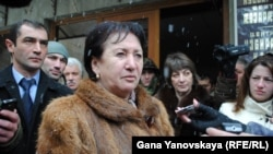 South Ossetia opposition presidential candidate Alla Dzhioyeva talks to the press in Tskhinvali on December 1.