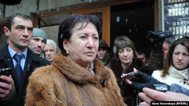 South Ossetia opposition presidential candidate Alla Dzhioyeva talks to the press in Tskhinvali on December 1.