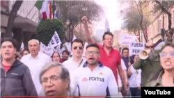 Демонстрация против повышения цен на бензин в Мехико. Скиншот видеозаписи с YouTube.