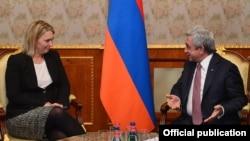 Armenia - President Serzh Sarkisian meets with Bridget Brink, the U.S. deputy assistant secretary of state for European and Eurasian affairs, in Yerevan, 16Nov2016.