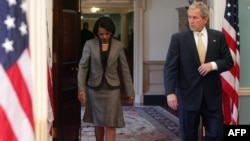 Rubin says that despite the demonization of President George W. Bush, seen here with Secretary of State Rice, the current administration has been more open to diplomacy with Iran than any since Carter's.