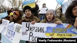 Акція у Криму проти агресії Росії щодо України. Сімферополь, 11 березня 2014 року