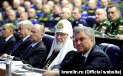 Московський патріарх Кирило на засіданні колегії Міністерства оборони Росії. Москва, 18 грудня 2018 року