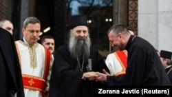 Порфирије, пречекан откако Српската православна црква го избра за свој нов патријарх, по смртта на неговиот претходник Иринеј во минатиот ноември, Белград, 18 февруари 2021 година