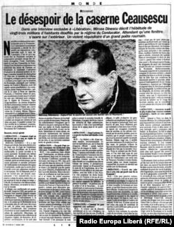 """Interviul acordat ziarului """"Libération"""" de Mircea Dinescu la începutul lui 1989"""
