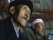 Kyrgyz opposition supporters in a yurt during a mass hunger strike
