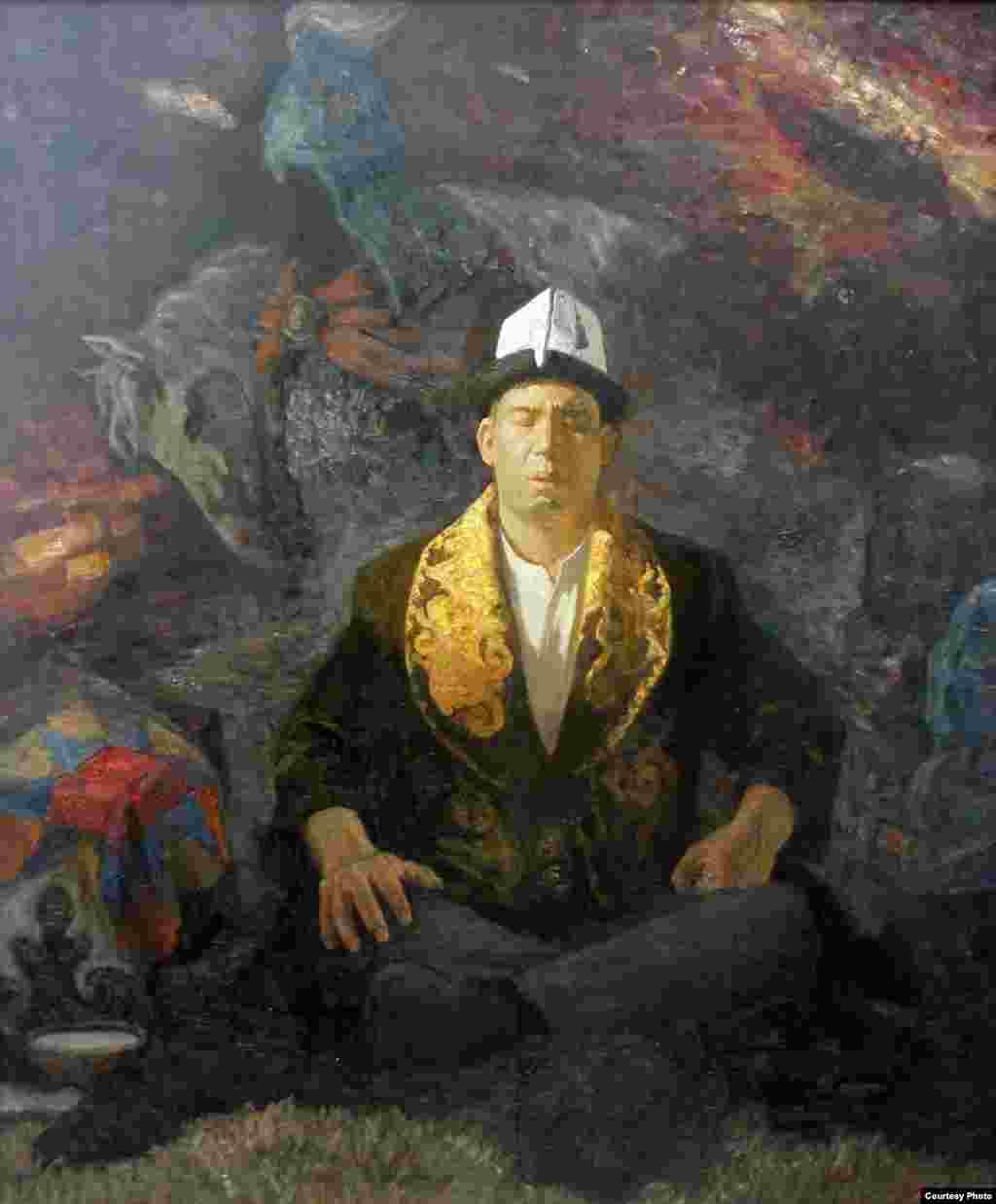 Портрет манасчи Рыспая Исакова.