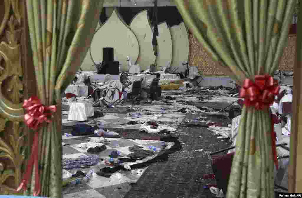 A wedding hall in Kabul, Afghanistan, seen on November 21, a day after a suicide attack. A suicide bomber was able to sneak into the wedding hall where hundreds of Muslim religious scholars and clerics had gathered to mark the birthday of the Prophet Muhammad. (AP/Rahmat Gul)