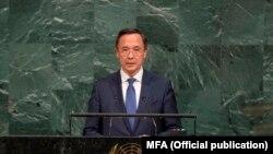 Министр иностранных дел Казахстана Кайрат Абдрахманов выступает на общих дебатах Генеральной Ассамблеи ООН. Нью-Йорк, 21 сентября 2017 года.