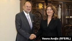Jelko Kacin i potpredsednica Vlade Srbije za evropske integracije Suzana Grubješić, Beograd, avgust 2012
