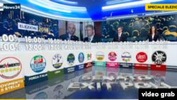 Rezultati izbora u Italiji na televizijskom ekranu.