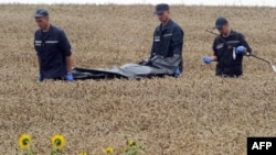 Ukrainian rescue workers carry the body of one of the 298 victims on a stretcher through a wheat field at the site of the MH17 crash on July 19, 2014.
