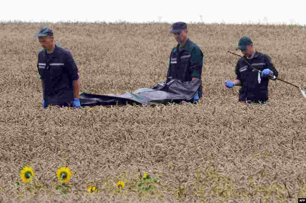 Ukrainian rescue workers carry the body of a victim away from a crash site on a stretcher through a wheat field near Hrabove on July 19.