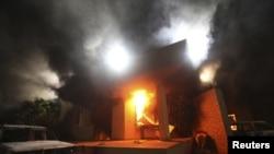 Американскиот конзулат во Бенгази во пламен