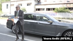 Miroslav Miskovic arriving at his Belgrade trial.