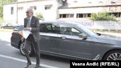 Miroslav Miskovic arriving at his Belgrade trial.