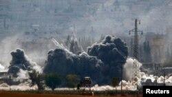 Ռմբակոծության հետևանքով պայթյուն Սիրիայի Քոբանի քաղաքում, 28-ը հոկտեմբերի, 2014թ․