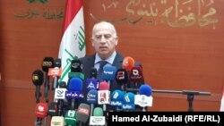 رئيس مجلس النواب اسامة النجيفي يتحدث في مؤتمر صحفي بمحافظة نينوى
