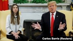 President Trump made his comments to reporters when meeting with Fabiana Rosales, the wife of Venezuelan opposition leader Juan Guaido.