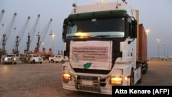 A truck transporting cargo from Afghanistan to be exported to India is seen at Shahid Beheshti Port in the southeastern Iranian coastal city of Chabahar, on the Gulf of Oman, February 25, 2019