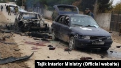 The aftermath of the attack at the Tajik border post