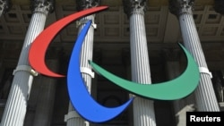 The Paralympic Games logo hangs outside the National Gallery in London last week.