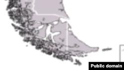 Карта южной оконечности Латинской Америки и архипелага Огненная Земля, возле которого ищут пропавшую подводную лодку