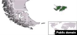 Фолкленды (Мальвины) на карте