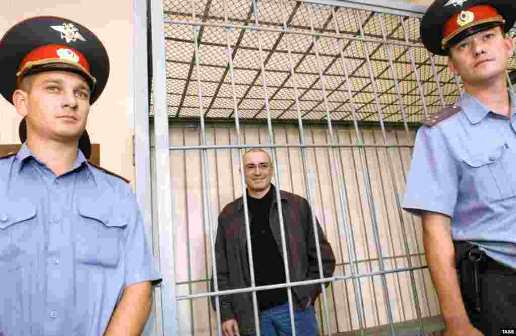 Khodorkovsky at a hearing at the Chita Regional Court in October 2008. During his imprisonment, Yukos was broken up and sold off, mostly into state hands.