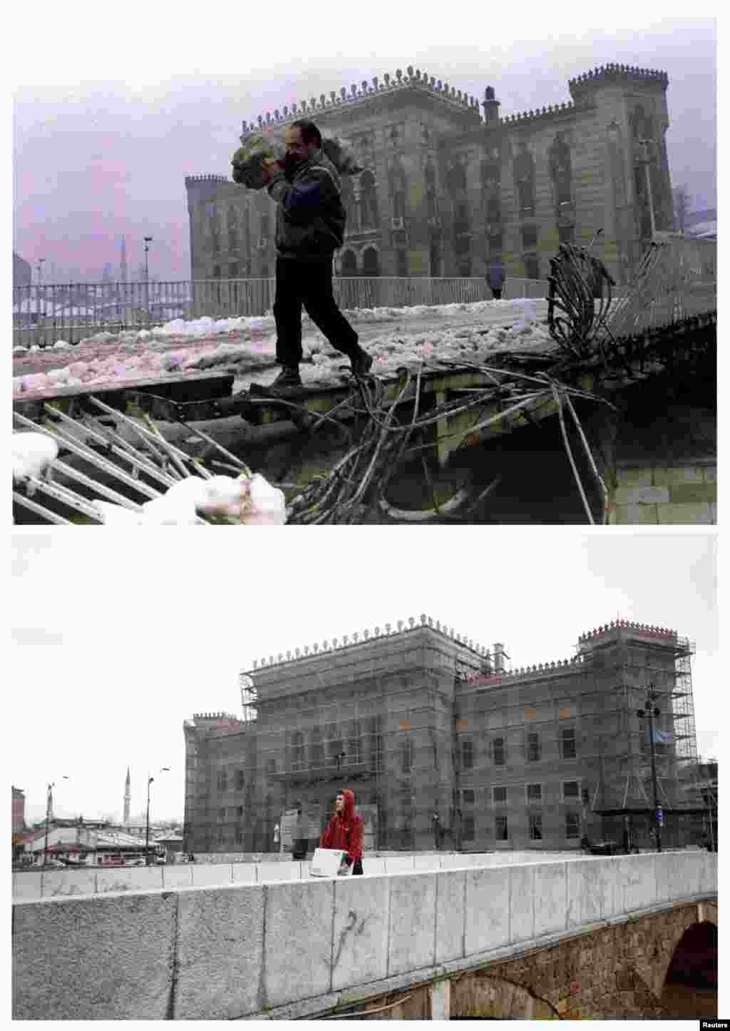 A man carries firewood across a destroyed bridge near Sarajevo's burned-out national library on January 1, 1994. A man carries a box over the same bridge, now repaired, on April 1, 2012.
