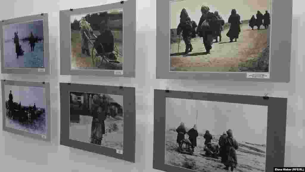 В годы Голода было много больных тифом. В верхнем ряду на снимке в центре женщина, укутанная с головы до ног, везет больного тифом мужчину. В течение 1931-1933 годов, по оценкам ученого Манаша Козыбаева и демографа Макаша Татимова, в Казахстане от Голода погибло до 1,75 миллиона человек. Более одного миллиона казахов вынуждены были откочевать в сопредельные регионы Российской Федерации, на территорию Кыргызстана, Каракалпакстана, Туркменистана и Узбекистана, а также за пределы СССР - в Китай, Монголию, Иран и Афганистан.
