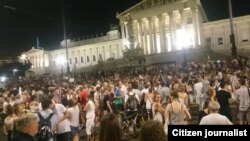 Акция в поддержку беженцев в Вене. 31 августа 2015 года.