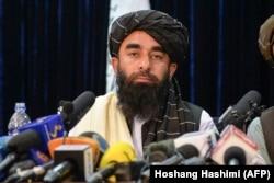 Taliban spokesman Zabihullah Mujahid at the militant group's press conference in Kabul on August 17