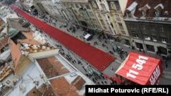 Сараевода 1992 жылғы қоршауда қаза тапқан 11 мың 541 адамды еске алу құрметіне 11 мың 541 бос орындық қойылды. Сараево, 6 сәуір 2012 жыл.
