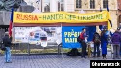 Протест против агрессии России в отношении Украины. Прага, 11 октября 2015 года