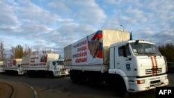 """Ресейдің Донбассқа жөнелткен """"гуманитарлық жүк"""" тиеген көліктері. Донецк, 31 қазан 2014 жыл."""