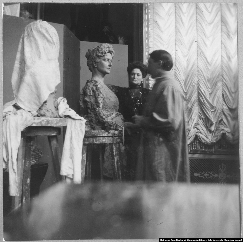 Empress Aleksandra having her likeness modeled in clay. In the three years before the revolution of 1917, the German-born Empress became a figure of suspicion and contempt as Russia fought against Germany on the ruinous battlefields of WWI.