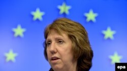 Belgium -- European Union High Representative for Foreign Affairs Catherine Ashton speaks during a news conference at the end of a Foreign Affairs council meeting at the EU headquarters in Brussels, February 10, 2014