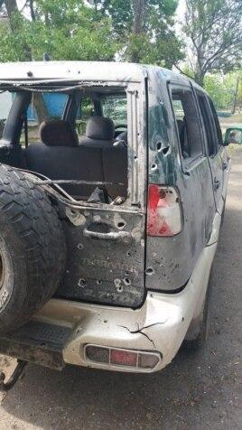 Джип, в котором Брайан Боенджер и его товарищи попали под обстрел в окрестностях Мариуполя