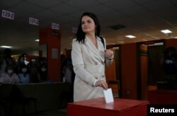 Candidata opoziției la prezindețiale Svetlana Țihanovskaia, Minsk, 9 august 2020.