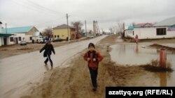 Улица в центре села в Актюбинской области. Ноябрь 2013 года.