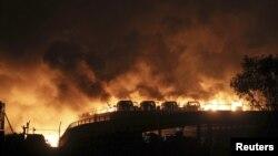 Тяньцзинь қаласындағы жарылыс. Қытай, 13 тамыз 2015 жыл.