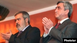 Armenia - President Serzh Sarkisian (R) and Hrant Markarian attend a concert in Yerevan in 2011 organized by the Armenian Revolutionary Federation.