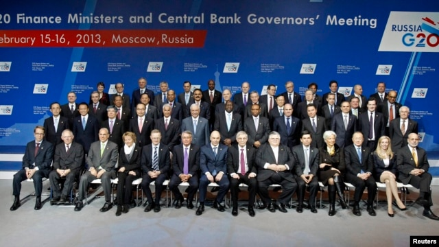Finance ministers and central-bank governors pose for a family photo during a meeting of G20 finance ministers and central-bank governors at the Manezh Exhibition Center in Moscow on February 16.