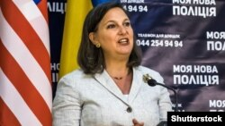 АҚШ мемлекеттік хатшысының көмекшісі Виктория Нуланд. Киев, 16 мамыр 2015 жыл.